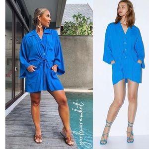 ZARA Viscose Gathered Blouse Tunic Dress